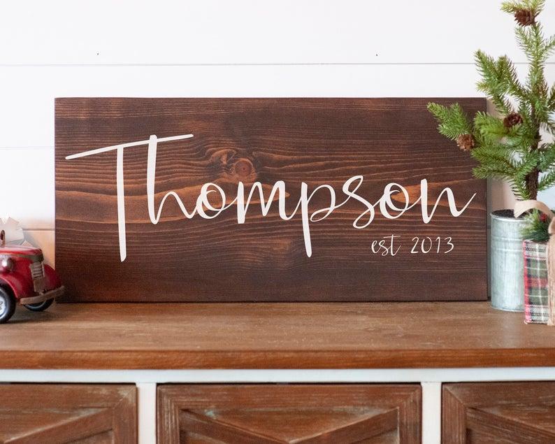 Custom Last Name Sign Personalized Wedding Gift Modern