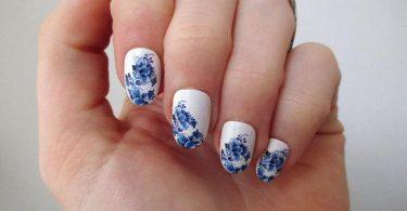 Delft Blue nail tattoos / nail decals / nail art / boho nails