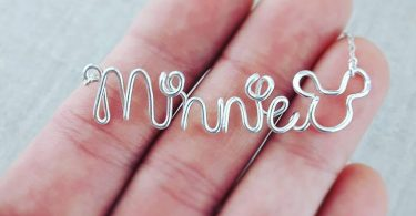 Disney Style Necklace Silver Wire Wrapped Name Necklace in