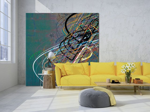 Electrical Currents I. Giant Abstract Art Print on Canvas.