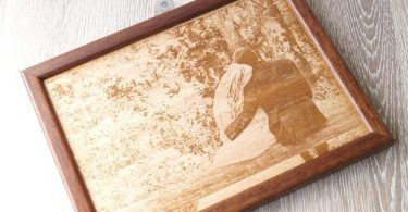Engraved wooden picture 5th wedding anniversary gift picture