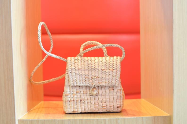 FREE tassel keychain  straw bag S  straw crossbody bag
