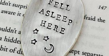 Fell Asleep Here Vintage Spoon Bookmark  Moon and Stars