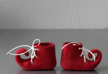 Felted unisex elf fairy baby's first Christmas shoes