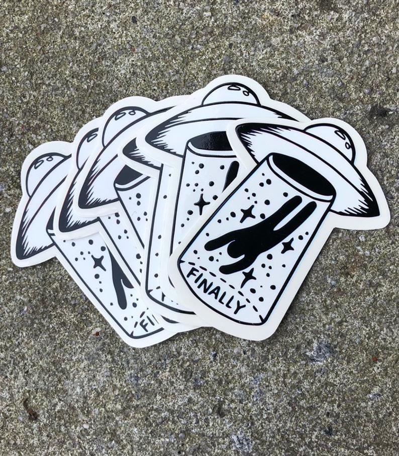 Finally UFO stickers 2 pk