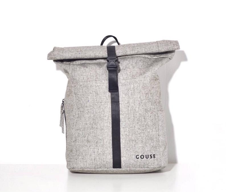 GOUSE  No.2 Grey Roll Top Backpack Laptop Backpack College