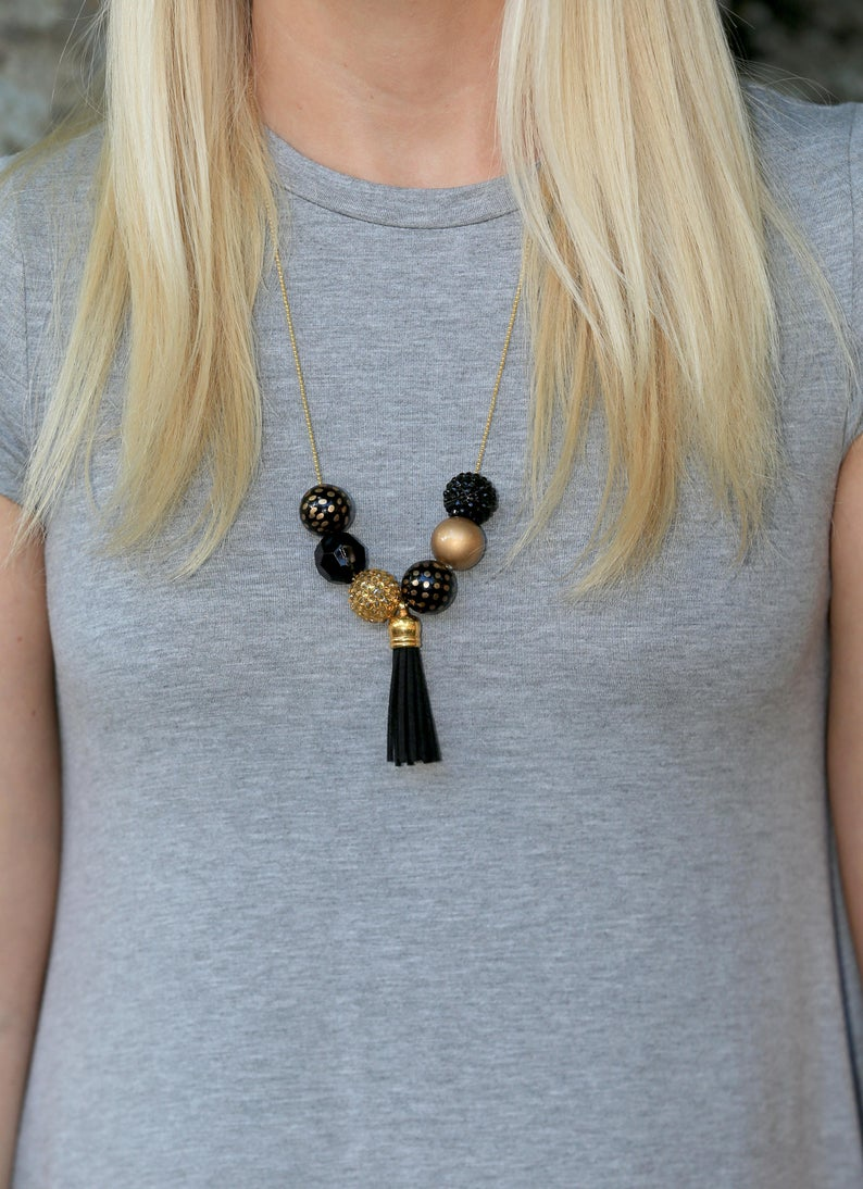 Game Day Necklace Game Day Jewelry Black and Gold Necklace