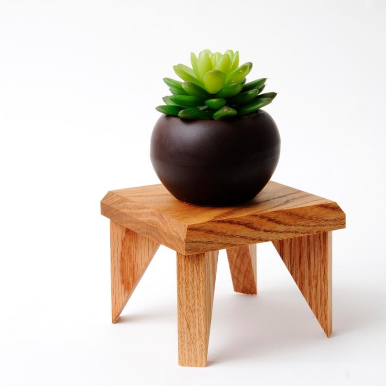 Geometric Plant Stand Oak Wood
