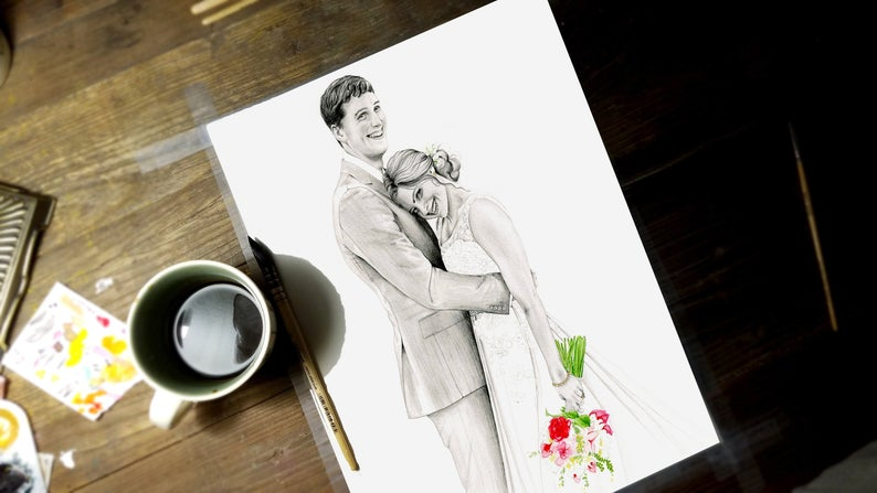 Hand Drawn Personalized Portrait Gift Original Drawing From