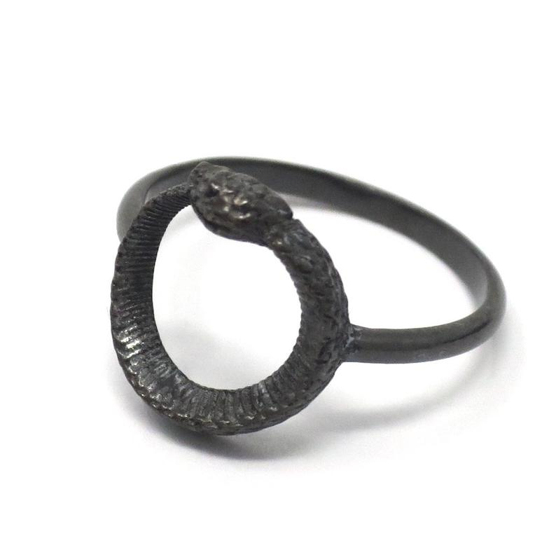 Hand Oxidized Ouroboros Snake Sterling Silver Ring  Solid 925