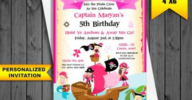 Invitation Pink PIRATE Party for girls PERSONALIZED Birthday