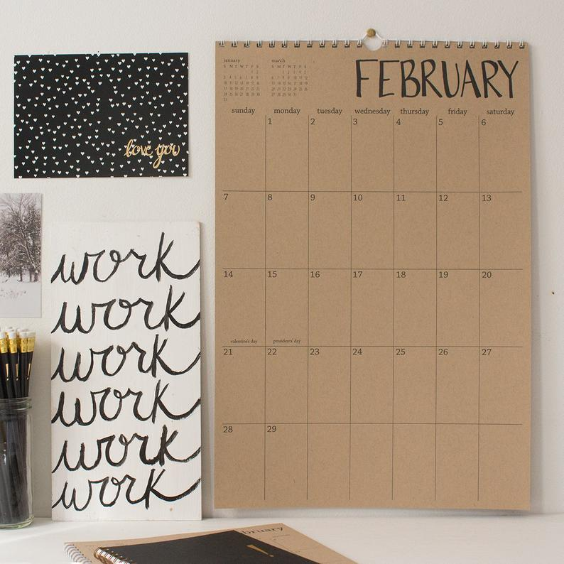 Large kraft wall calendar  start any month