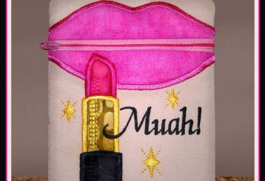 Lipstick Makeup Bag Muah Zippered Bag 5×7 xxx vip pes jef