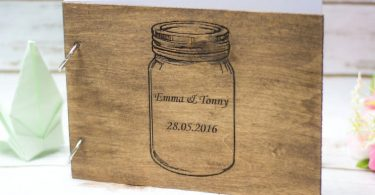 Mason Jar Wedding Guest Book Rustic Wooden Guestbook Country