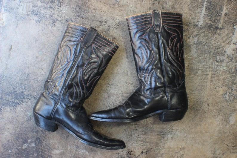 Men's 11 1/2 B / 1940's  Cowboy Boots / Black Leather