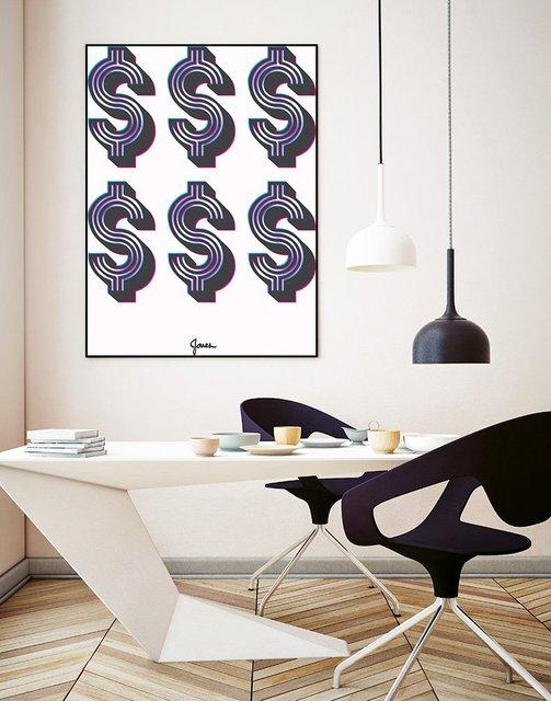 """Money Money Money"" Art Block Framed Canvas  by Giant Art"
