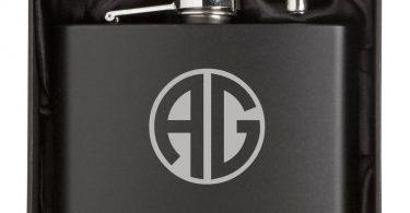 Monogram Engraved 12oz Stainless Steel Flask & Funnel Gift Box