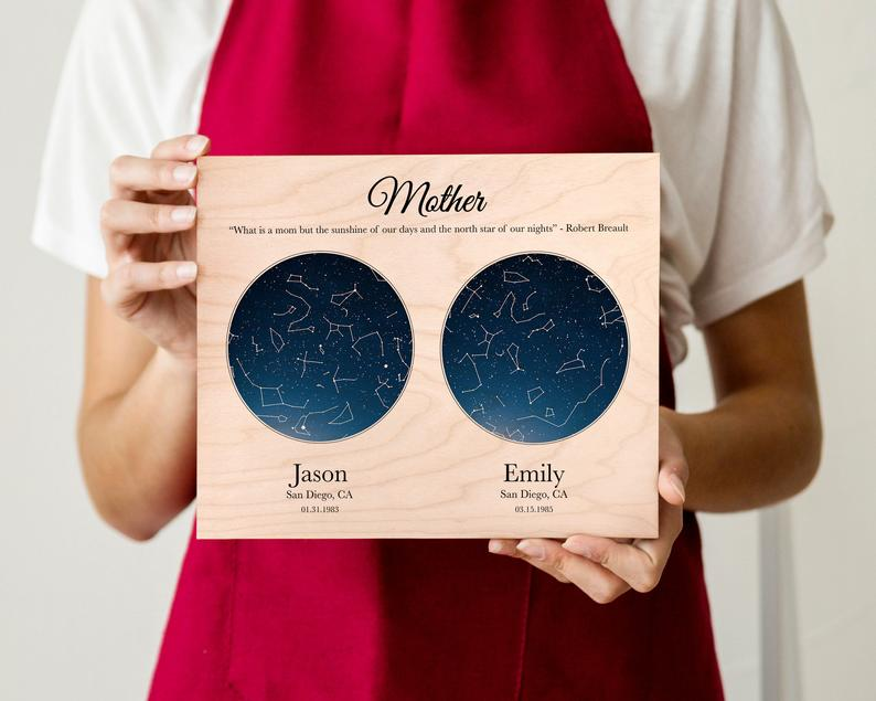 Mothers Day Personalized Gift From Daughter Custom Star Map