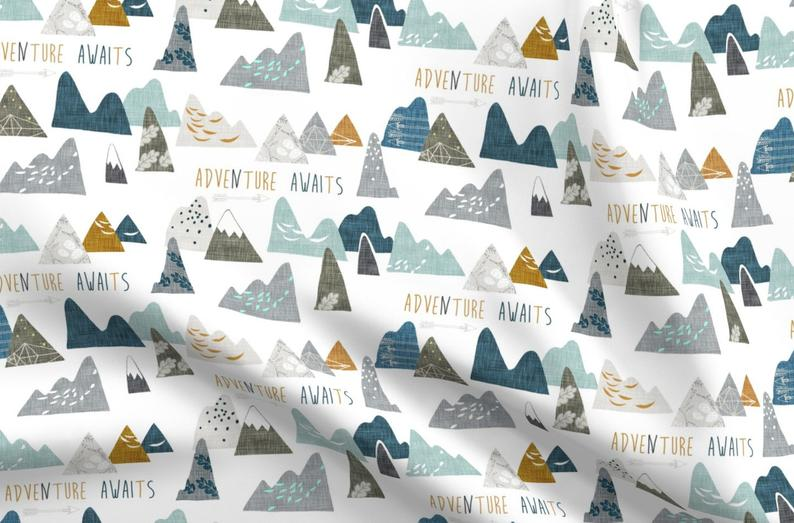 Mountain Fabric  Adventure Awaits Regular White By Nouveau