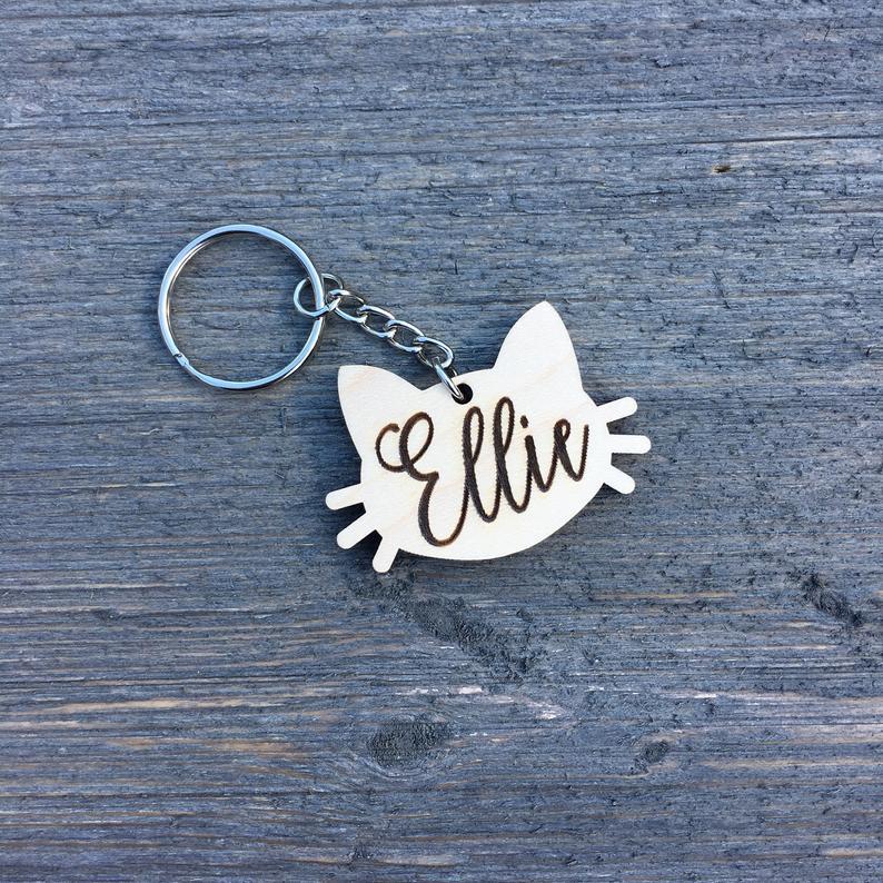 Personalized Cat Keychain Custom Keychain Engraved Wood