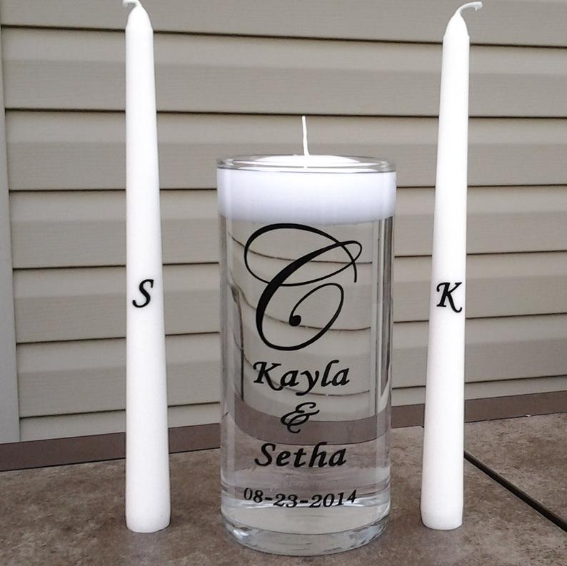 Personalized Wedding Floating Unity Candle Set Choice of 7
