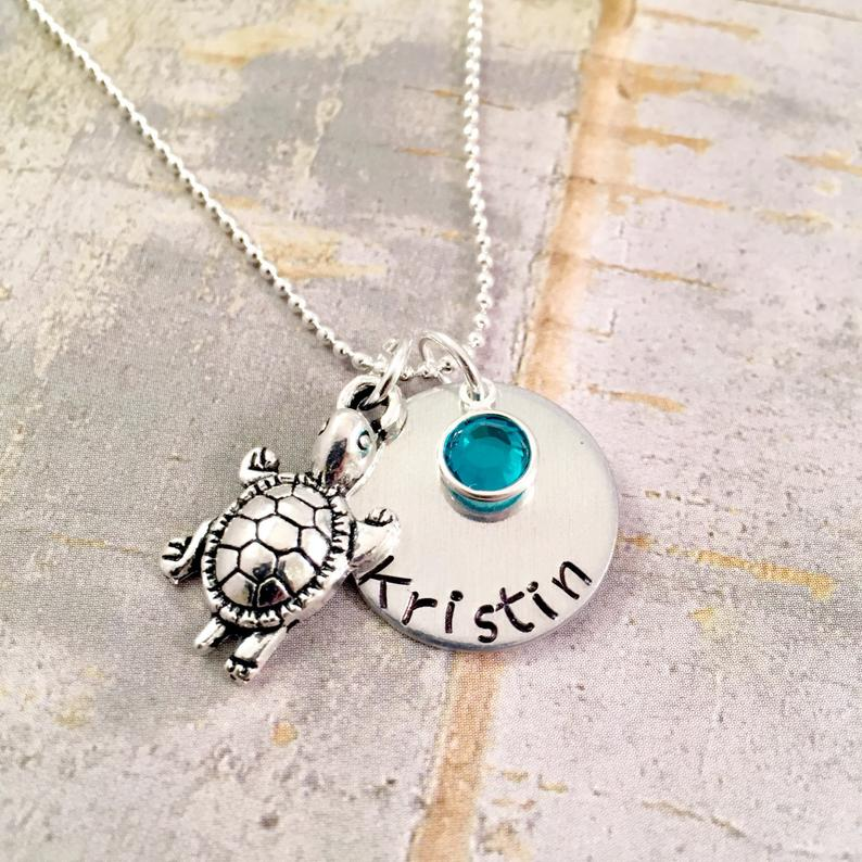 Personalized turtle name necklace turtle necklace name