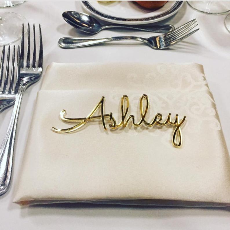 Personalized wedding place table cards Laser cut names Guest