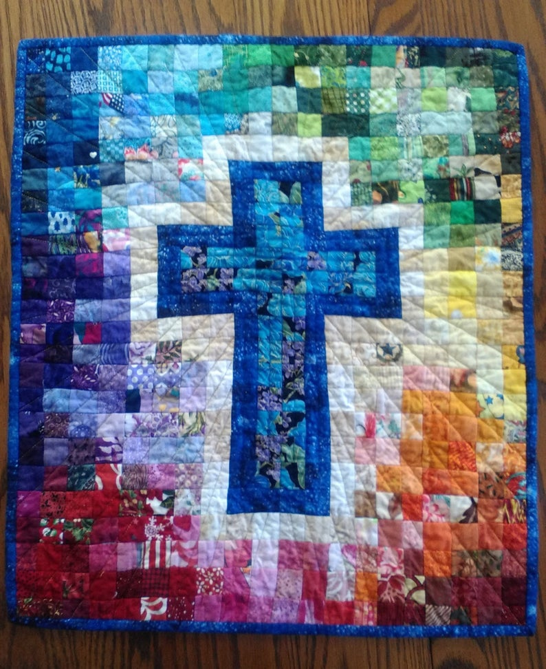 Quilt Pattern Watercolor Rainbow Religious Cross Christian