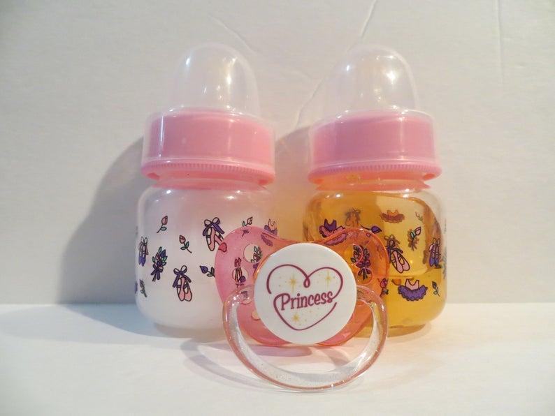 Reborn Doll Bottles Preemie 2oz Pink Fake Milk & Juice