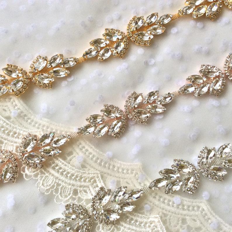 Rose gold Crystal Rhinestone Trim by the Yard  Bridal Trim