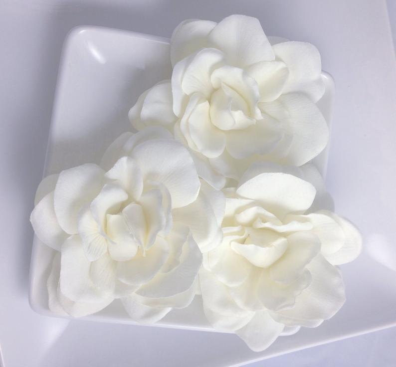 SET Real Touch Light Ivory Cream Silk Gardenia Bridal Hair