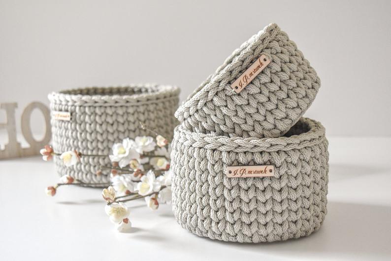 Set of 3 baskets Ecru crochet basket Scandinavian style