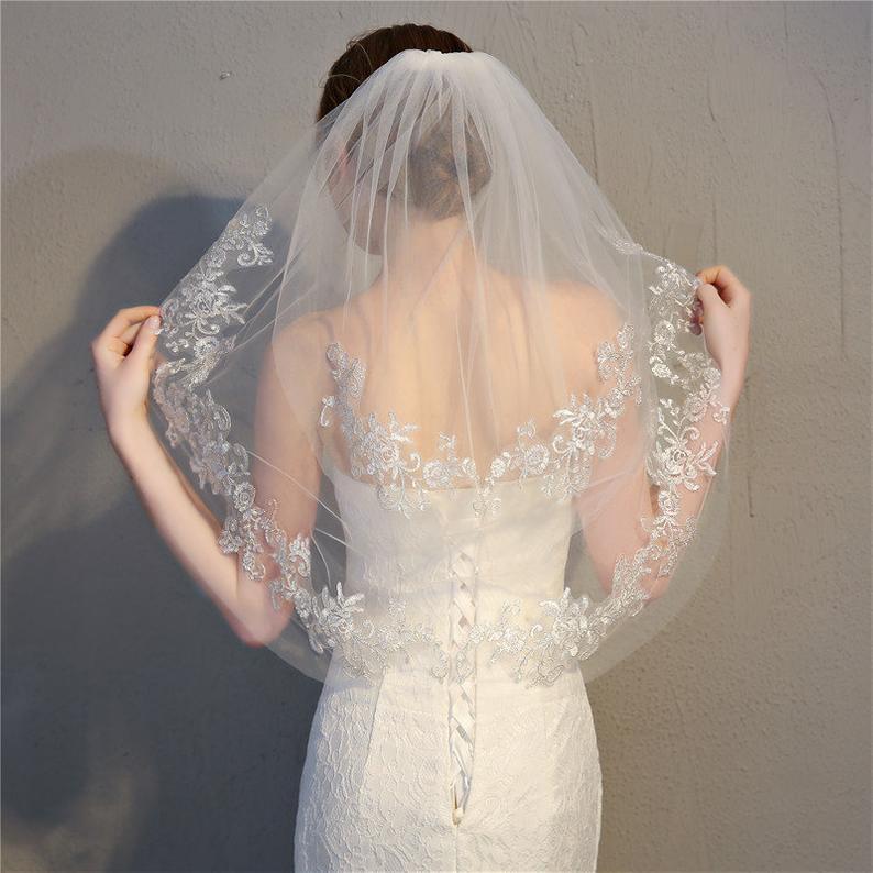 Silver Line Lace VeilSimple VeilLace edgo veilTwo Tier