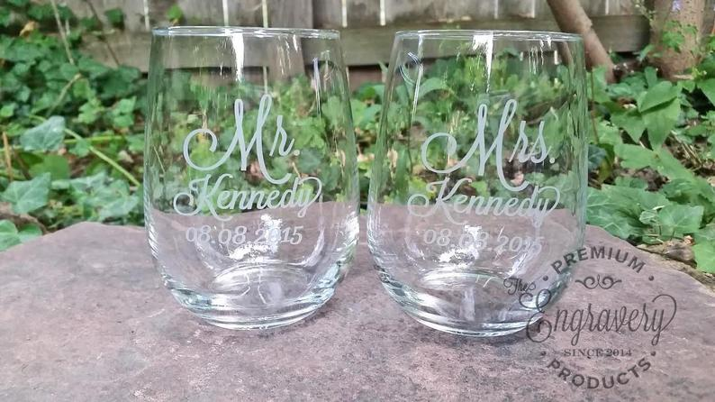 Stemless Wine Glasses Personalized Mr and Mrs Stemless Wine
