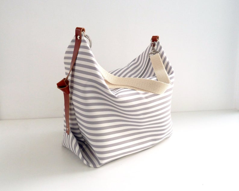 Stripe canvas diaper bag Messenger bag Personalised diaper