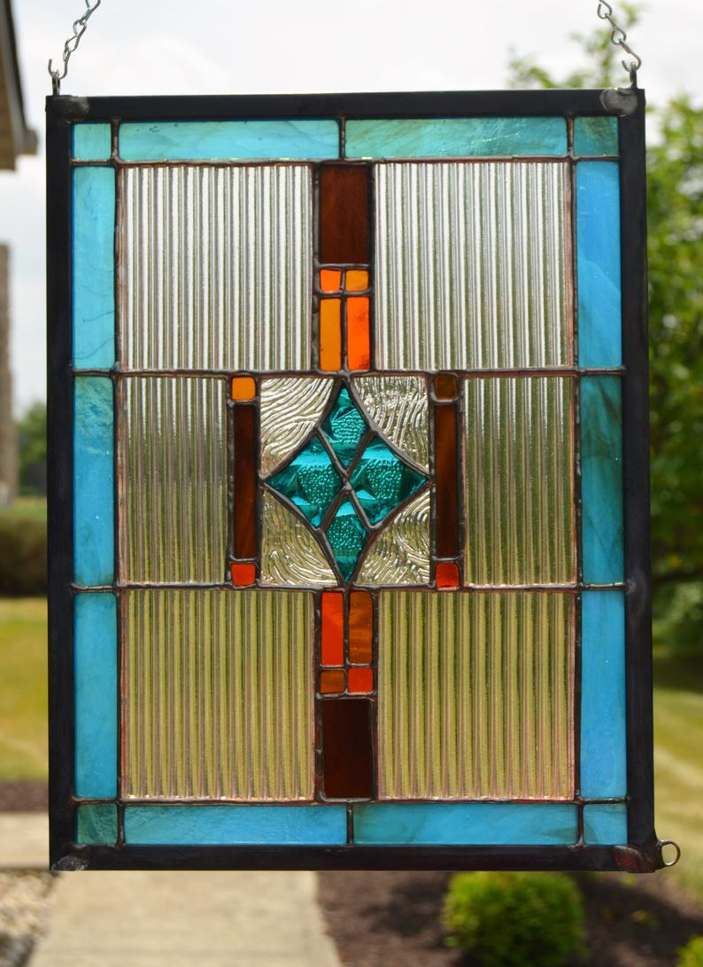 Turquoise amber and brown stained glass panel 8 x 11