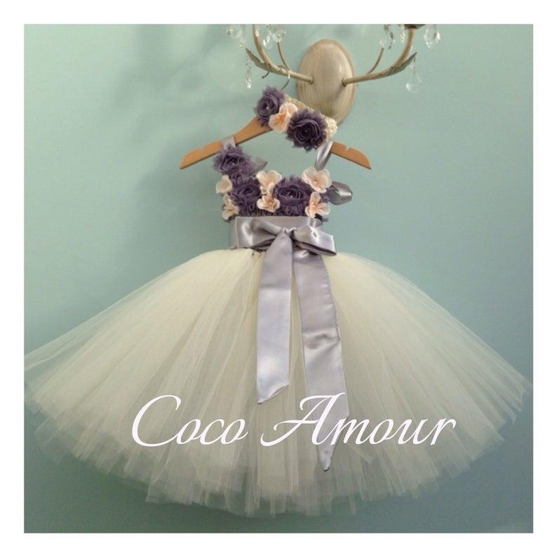 Vintage Flower Girl Dress  Tulle Tutu Dress  wedding  gown