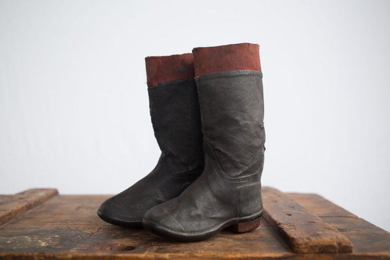 Vintage Sales Sample Rubber Boots / 1930s Children's Rain