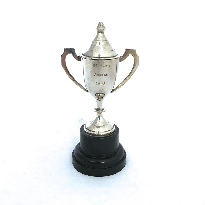 Vintage Silver Trophy Cup Small Lidded 1970s Trophy Cup