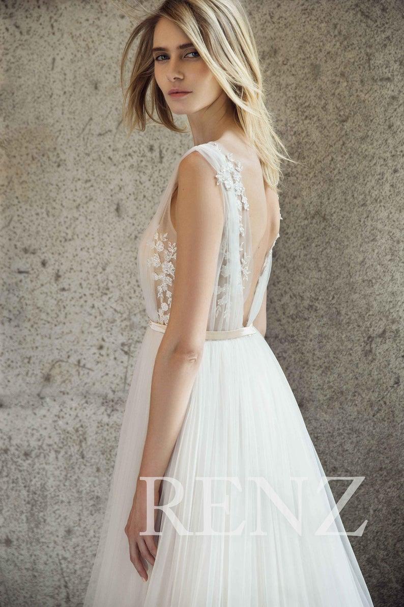Wedding Dress Off White Tulle Bridal Dress Lace Boho Wedding