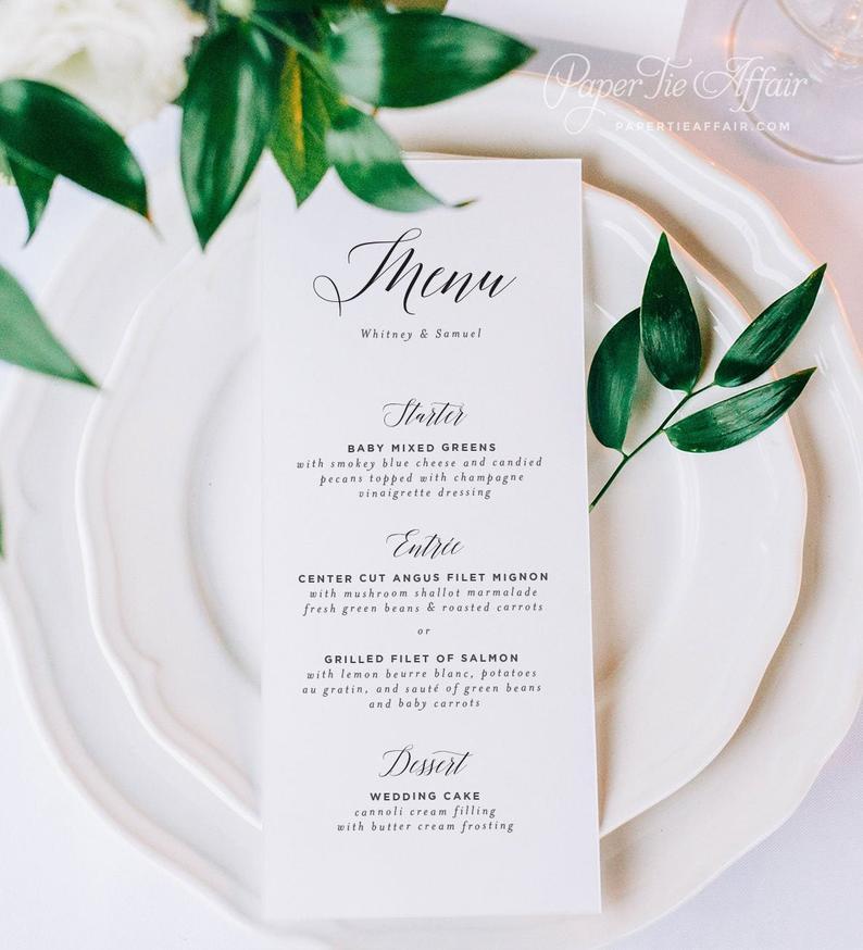 Wedding Menu Cards  Wedding Menus  Elegant Calligraphy