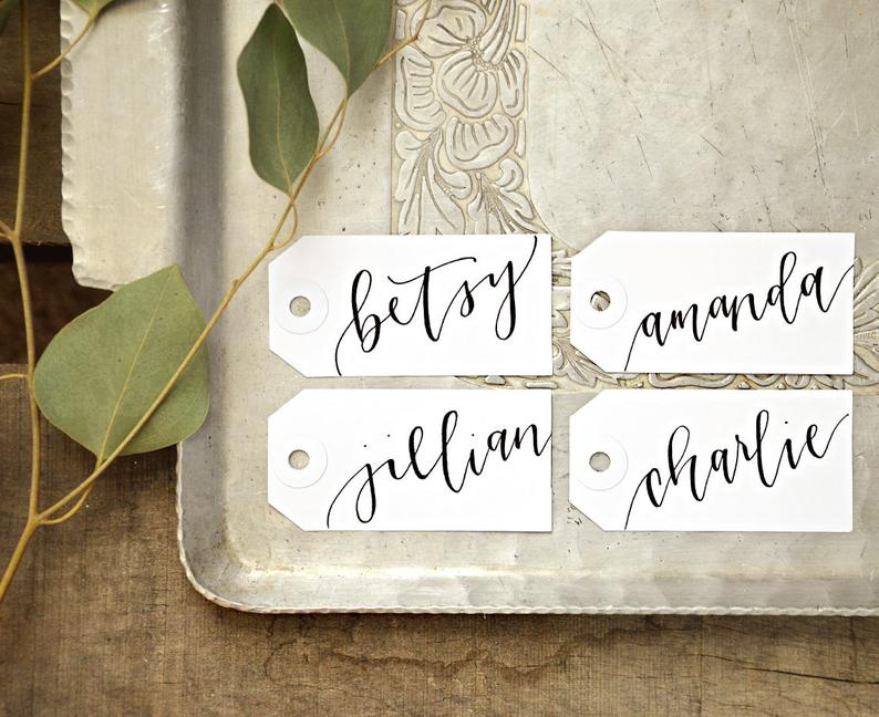 Wedding Name Tag Placecards Calligraphy Personalized Gift