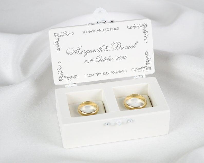 Wedding Ring Box Ring Bearer Box Love Birds Ring Box White
