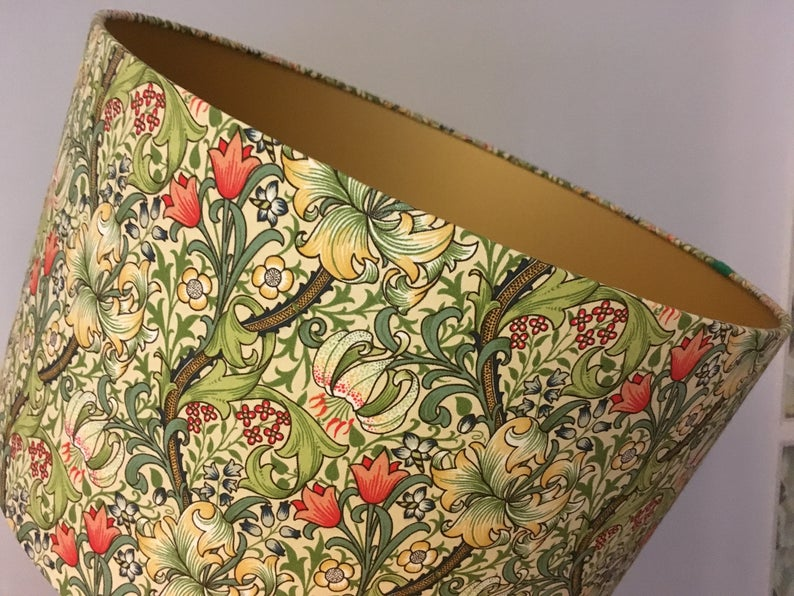 William Morris 'Golden Lily' lampshade with blackout