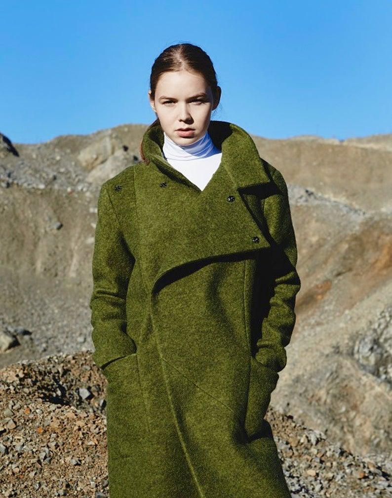 Wool Coat Women Winter Coat Green Wool Coat Maxi Coat