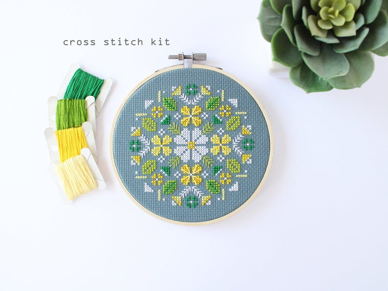 Alpine Flowers-Modern Cross Stitch Kit  DIY cross stitch