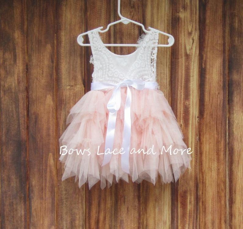 Blush pink tulle flower girl dress First birthday dress Baby