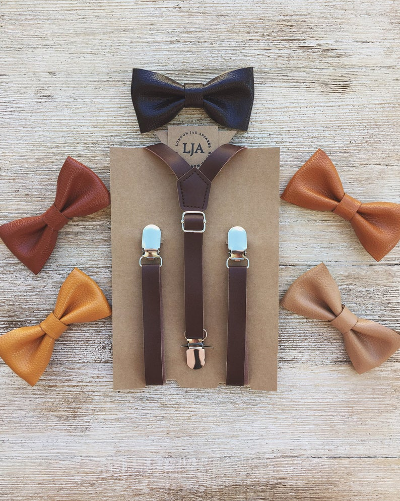 Boys Leather Suspenders Baby Leather Suspenders and Bow Tie