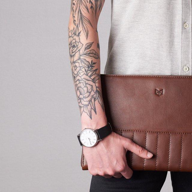 Brown Leather Biker Laptop Portfolio