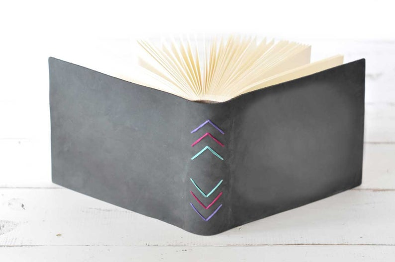 Charcoal Buckskin Leather Album w/Chevron Embroidery  by